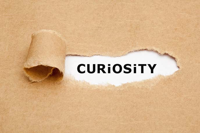 The word Curiosity appearing behind torn brown paper. Curiosity is the desire to learn or know more about something or someone.