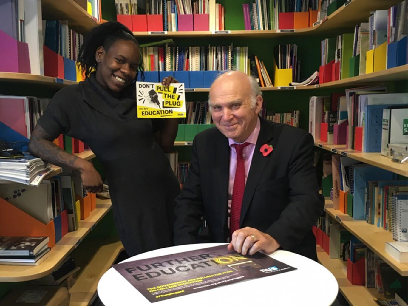 Sir Vince Cable and Shakira Martin, NUS vice-president, who are to work together on 'Students Shaping Further Education' project Champollion